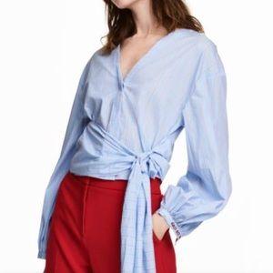 💕NWT H&M Striped Cotton Wrap Blouse